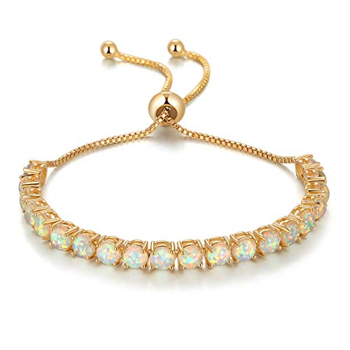 CiNily Yellow Gold Pleated Bracelet- Adjustable Opal Tennis Bracelet Fashion Jewelry Gifts for Women