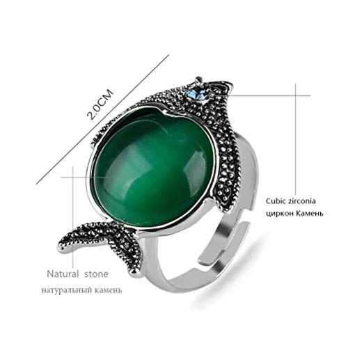 (Chuan Han Natural Green Opal Cute Fish Animal Ring Female Antique Silver Plated Adjustable Size Ring, Retro Style, Wedding, Grooved Zinc Alloy, Round, Opal, Attending Cocktail Party Ring, Seiko, G)