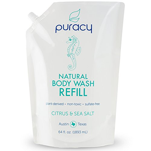 Puracy Natural Body Wash Refill, Sulfate-Free Shower Gel and Daily Cleanser, Citrus and Sea Salt, 64 Ounce Pouch