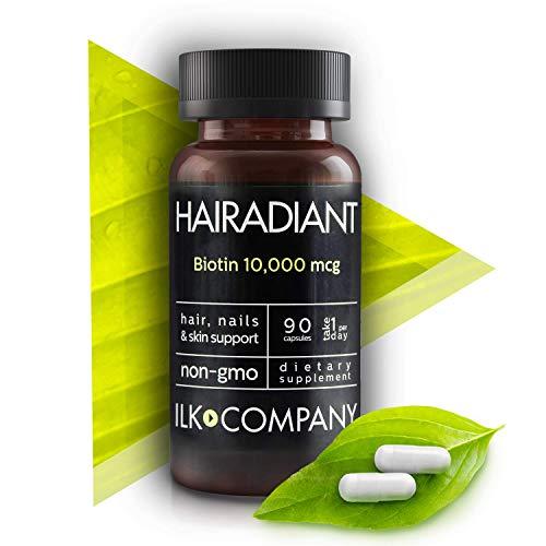 Hair Vitamins – Biotin 10,000 MCG – Non-GMO Hair Growth Essential Treatment for Men & Women – Longer & Healthier Hair and Nails – Radiant Skin – 90 Capsules