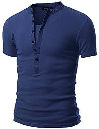 Doublju Mens Henley T-shirts with Short Sleeve