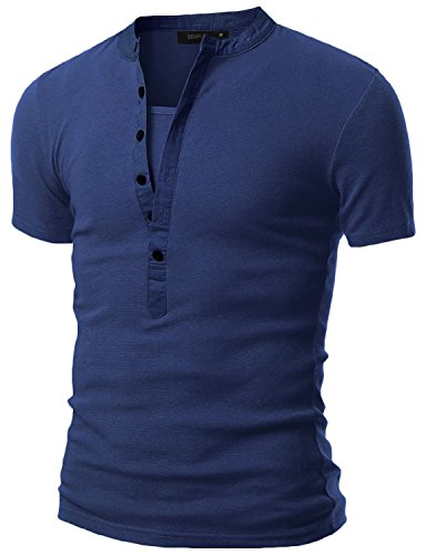 Doublju Mens Casual Henley T-Shirts With Short Sleeve DENIMBLUE - To Where Buy Versace
