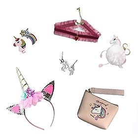 - 41PF7ERE2QL - VLalin Unicorn Gift Set Unicorn Purse/Necklace/Lace Choker/Keychain/Head Clip/Headband