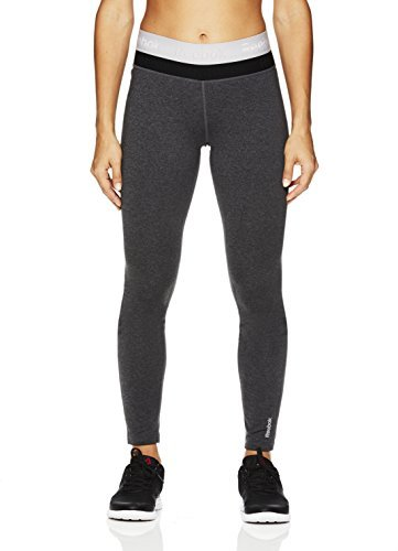 Cold Leggings - Reebok Women's Legging Full Length Performance Compression Pants- Duplex Charcoal Heather/Grey, Small