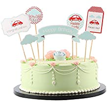 LXZS-BH LVEUD Blue clouds and red car Happy Birthday Cake Topper , Birthday Party Decorations Set Of 7