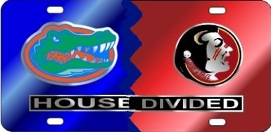 (Craftique Florida Gators/FSU House Divided Car Tag)