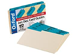 Oxford Index Card Guides with Laminated Tabs, Monthly, January-December, 5\