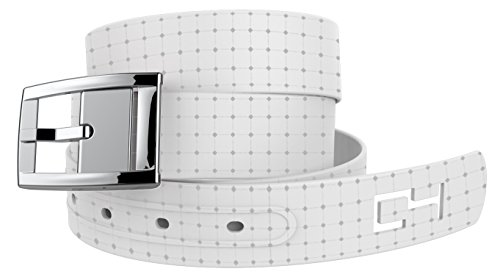 White Off the Golf Grid Belt with Silver Buckle - Adjustable for waist size up to 44 inch, hypoallergenic - by C4 Belts