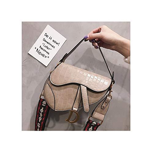 Crocodile Pattern Saddle Shoulder Bag for Women Fashion Embroidered Strap Small Top Handle Handbag Crossbody Handbag Purse-Khaki Serpentine