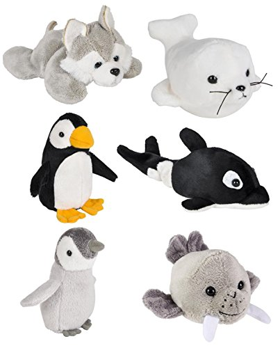(Wildlife Tree Mini Small Stuffed Animals Bundle of Arctic Animal Toys or North Pole Party Favors for Kids (Pack of 6))