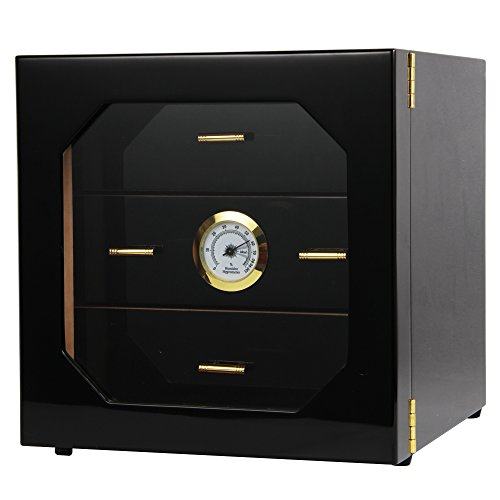 Black Gloss Piano Finish Cedar Lined Cigar Cabinet Humidor With Drawers by CIGARISM