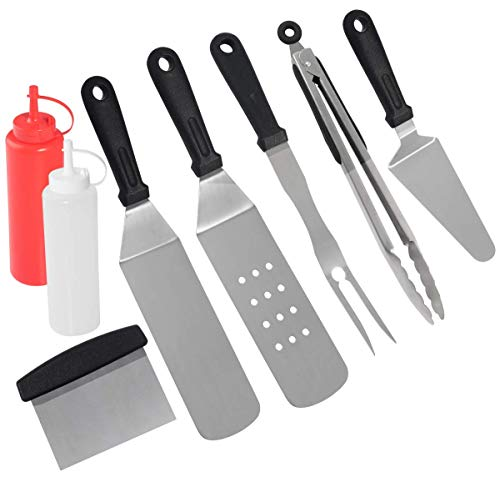 grilljoy Birthday Gift with Wrapping Box for Men Women - 8pcs Restaurant Grade Griddle Accessories - Flat Top Stainless Steel Griddle Spatula & Scraper Set with Heat Resistant Handle