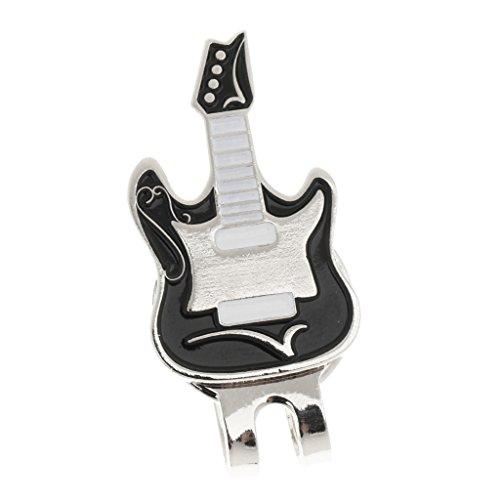 MonkeyJack Electric Guitar Hat Clip Golf Ball Marker Clip Onto Golf Cap Visor Golfer Gift ()