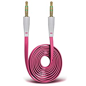 ONX3 (Hot Pink) Archos 50f Helium Lite Gold Plated 3.5mm Jack To Jack Connection Aux Auxiliary Audio Flat Cable
