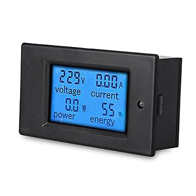 VANJING AC 80-260V 20A Voltmeter Ammeter Digital Multimeter Voltage Amperage Meter AC Power Energy Meter with LCD Display Blue Backlight and Built-in Current Shunt