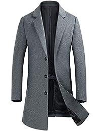 f1b87e6f2c81 Men s Wool Coats Single Breasted Trench Coat Winter Jacket KEMCT
