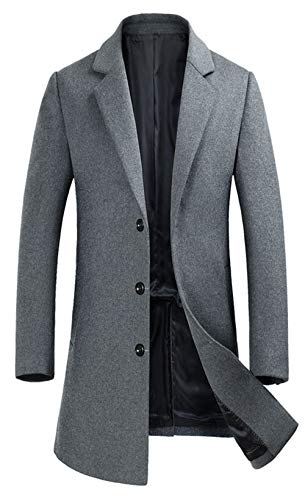 - ELETOP Men's Lapel Wool Coats Single Breasted Trench Coat Windbreaker Jacket 1889 Gray XL