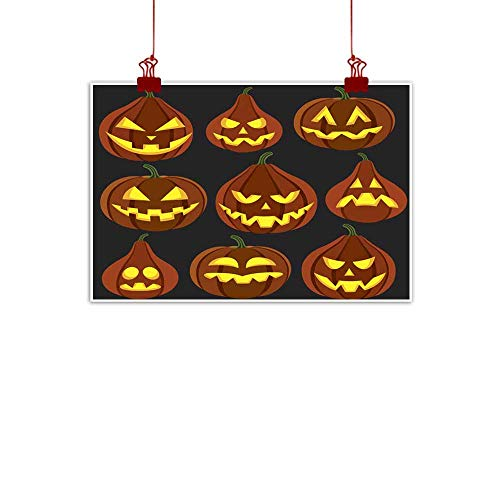 duommhome Living Room Decorative Painting Halloween Pumpkins with Different Expression Over Black Background Living Room Decorative Painting 20