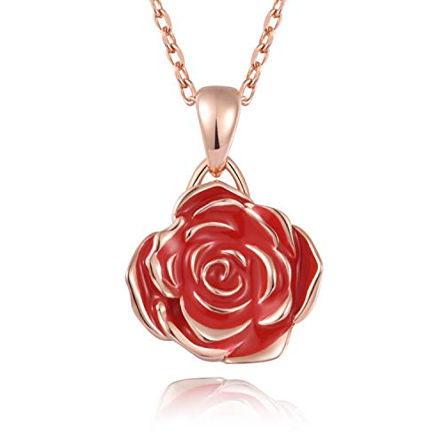 BEILIN 925 Sterling Silver Red Rose Flower Pendant Necklaces Gift Jewelry for Women Girls (Red)
