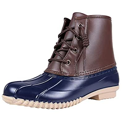 Colorxy Women's Short Duck Boots - Waterproof Ankle Rain Boot Insulated Lace Up Outdoor Winter Snow Boots (Navy Blue, Size 6)