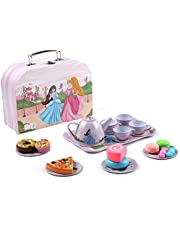 Pretend Princess Play Kids Tea Set, 24 Pcs Kids Tin Tea Set Toy with Pretend Play Food Cakes Biscuits,Kid Tin Tea Party Set- Includes Carry Case,for Baby Children Kids Girl Role Play Toy