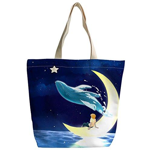 violetpos Shopping Contes main étoilé Sac Dauphin cartable Sac à Lune ciel Canvas Sacs personnalisé bandoulière rTwZWqrYv