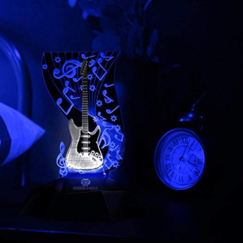 Novelty Lamp, Music Note Indoor Lighting, Touch Switch Illusion Optical Table Lamp Art Music Instrument Guitar 3D Line Lamp LED Decorative Night Light Guitarist Music Room Decor Unique Gift Idea for M by LIX-XYD (Image #4)