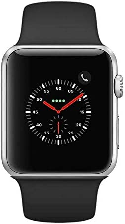 Apple Watch Series 2 Smartwatch 42mm Silver Aluminum Case Black Sport Band (Renewed)