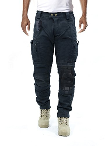 Survival Tactical Gear Men's Airsoft Wargame Tactical Pants with Knee Protection System & Air Circulation System (Iron Black, XL)