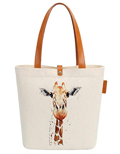 So'each Canvas & Beach Tote Bag Animal Giraffe Art Graphic Handbag Shoulder Bag