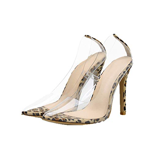 Dress Pump for Women,SMALLE◕‿◕ Women Leopard High Heel Pointed Toe Clear Pumps Heels Slip On Dress Shoes Yellow