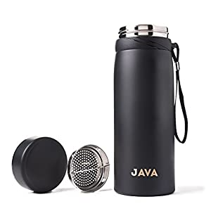 Stainless Steel Thermos 30 Oz. Double Wall Vacuum Insulated with 18/8 Steel - Keeps Drinks Hot or Cold for 12 Hours. Travel Mug, Tumbler or Water Bottle. Includes a Removable Tea Strainer. (Black)