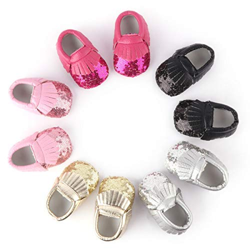 LIVEBOX Baby Girls Shoes Soft Sole Prewalker Mary Jane Princess Party Dress Crib Shoes with Free Bow Knot Baby Headband (S:0-6 Months/4.33