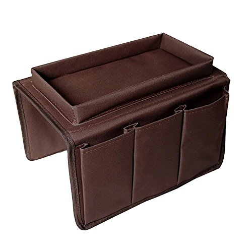 Sofa Armrest Organizer With Tray, Aolvo Couch Caddy Chair Table Cabinet Storage Space Saver Bags Remote Control Holder Fits for Phone Book Magazines 6 Pocket (coffee)