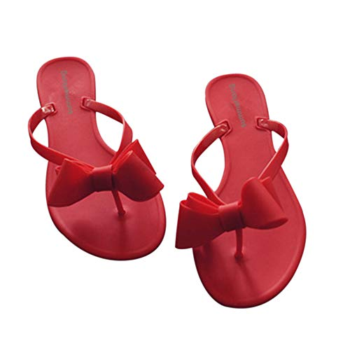 Shoe'N Tale Women Ribbon Bow Sandals Flip Flop Narrow Strap (7.5 B(M) US, red)