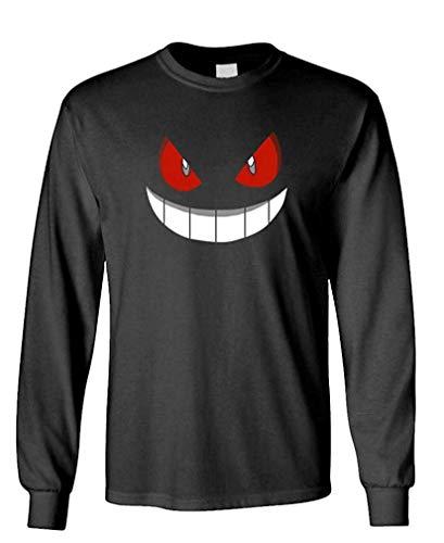 XFPrint66 - Gengar Halloween FACE - Mens Cotton Long Sleeved T-Shirt Funny Design Black -
