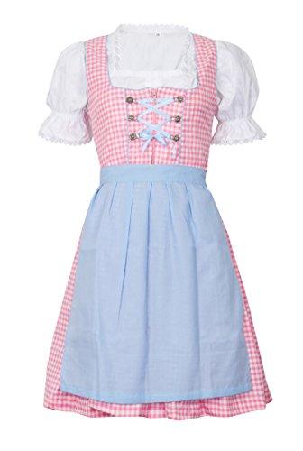 MS-Trachten Damen Dirndl Set zartkariertes 3 teiliges Trachtenkleid rosa-hellblau 38