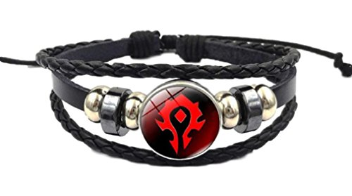 New Horizons Production World of Warcraft Horde Logo Glass Domed Braided Leather Bracelet