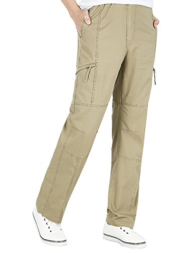 Middle Waist Elastic - OCHENTA Men's Full Elastic Waist Lightweight Workwear Pull On Cargo Pants #08 Soil Yellow Tag 2XL - US 36