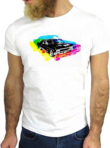 T-SHIRT JODE GGG24 HZ0340 CAR FLAG FUN COOL VINTAGE ROCK FUNNY FASHION CARTOON NICE AMERICA BIANCA - WHITE M