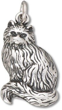 (Sterling Silver Sitting Cat Charm with Split Ring - Item #3421)