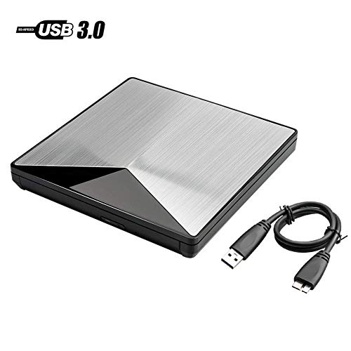 External DVD Drive for Laptop - Anfly External CD DVD Player Drive for PC, USB 3.0 Premium SATA Chip Shining Aluminum Alloy, 19 Inch Detachable Cord Compatible with Windows Linux Macbook