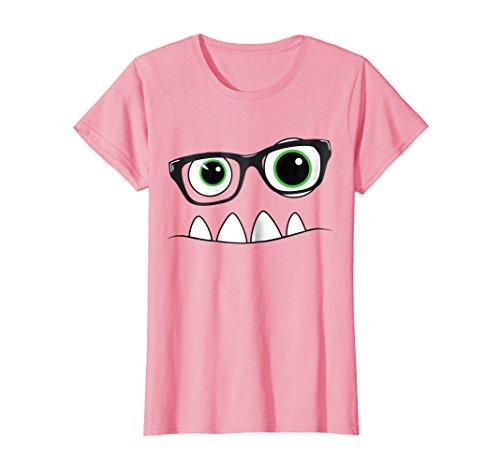 Womens Monster Face Nerd Halloween Costume T Shirt Funny Kids Gifts Medium Pink