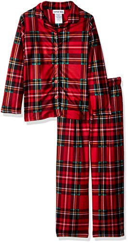 Komar Kids Girls' Big' Holiday Plaid Button Down Soft Knit Flannel Pajama Set, red, Extra Small