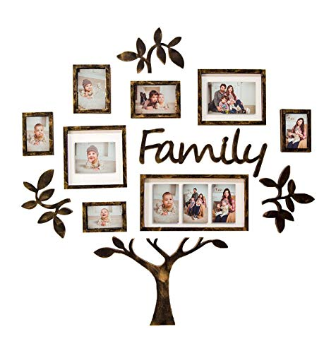Hello Laura - Photo Frame Picture Frame - 24 Sockets Gray Finish Frame Collage Collection Wall Hanging Picture Photo Display Frame 4 x 6 Large Multi Decor Home Family Friend (13PCS-Black Tree)