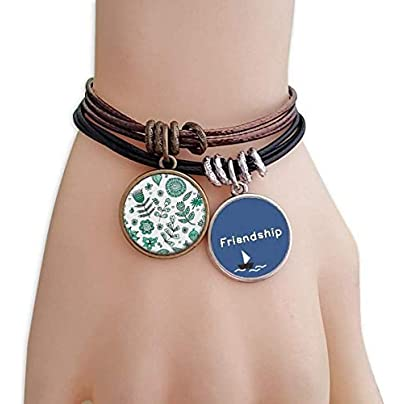 Green Flowers Leaves Drawing Plants Friendship Bracelet Leather Rope Wristband Couple Set Estimated Price -