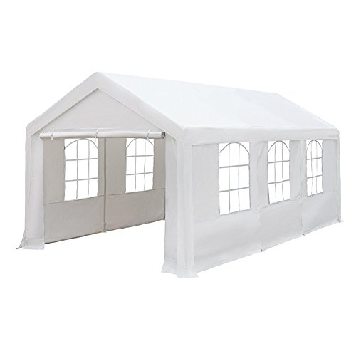 Abba Patio 10 x 20-Feet Heavy Duty Carport with Windows and Sidewalls, White by Abba Patio