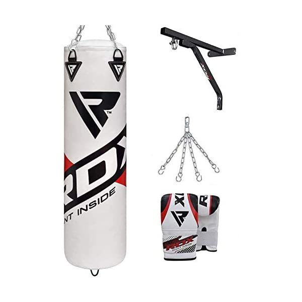 RDX-Punch-Bag-Filled-Set-Kick-Boxing-MMA-Heavy-Training-Mitts-Punching-Gloves-Hanging-Chain-Ceiling-Hook-Muay-Thai-4PC-Martial-Arts-4FT-5FT