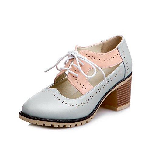 VogueZone009 Damen PU Leder Gemischte Farbe Ziehen auf Rund Zehe Mittler Absatz Pumps Schuhe Grau