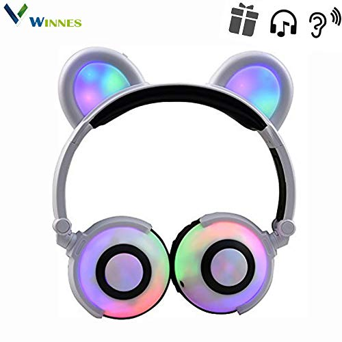 Winnes Bear Ear Bluetooth Headphones,Cat Ear Headphones Foldable Gaming Headsets Earphone with LED Flash Light for iPhone,iPad,Android Mobile Phone,MacBook,Tablet (White)